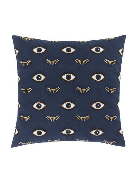 Geborduurde kussenhoes Observe met oogmotieven, 100% katoen, Blauw, 50 x 50 cm