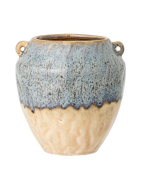 Kleine plantenpot Ica van keramiek, Keramiek, Blauw, beige, Ø 14 x H 15 cm