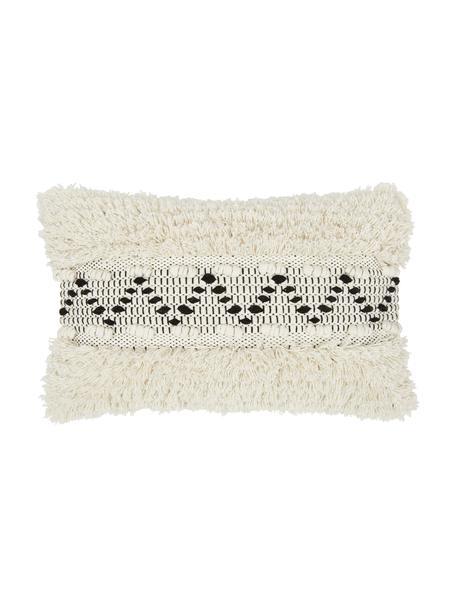 Federa arredo color bianco crema con motivo a rilievo Katarina, 100% cotone, Beige, bianco, Larg. 30 x Lung. 50 cm