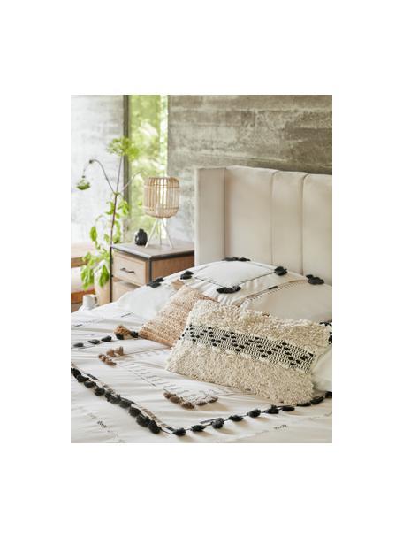 Poszewka na poduszkę boho ze strukturalną powierzchnią Katarina, 100% bawełna, Beżowy, biały, S 30 x D 50 cm