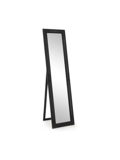 Specchio da terra con cornice nera Miro, Cornice: legno rivestito, Superficie dello specchio: lastra di vetro, Nero, Larg. 40 x Alt. 160 cm
