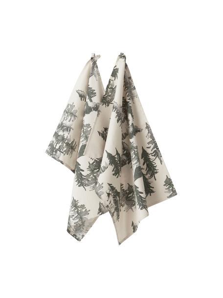 Geschirrtücher Forrest, 2 Stück, 100% Baumwolle, aus nachhaltigem Baumwollanbau, Creme, Grün- und Grautöne, 50 x 70 cm