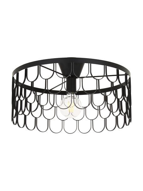 Plafondlamp Gatsby in zwart, Baldakijn: gelakt messing, Zwart, Ø 50 x H 20 cm