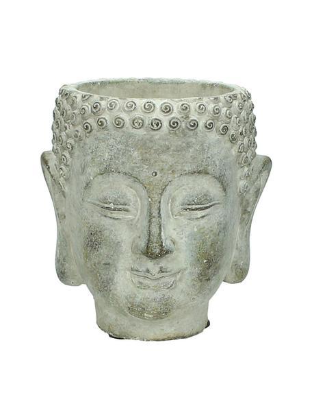 Portavaso viso di design in cemento Head, Cemento, Grigio, Larg. 13 x Alt. 14 cm