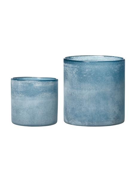 Windlicht-Set Dawn, 2-tlg., Glas, beschichtet, Blautöne, Set mit verschiedenen Größen