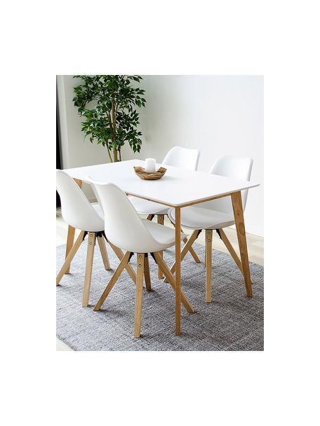 Mesa de comedor Vojens, estilo escandinavo, Tablero: tablero de fibras de dens, Patas: madera de caucho, Blanco, An 120 x F 70 cm