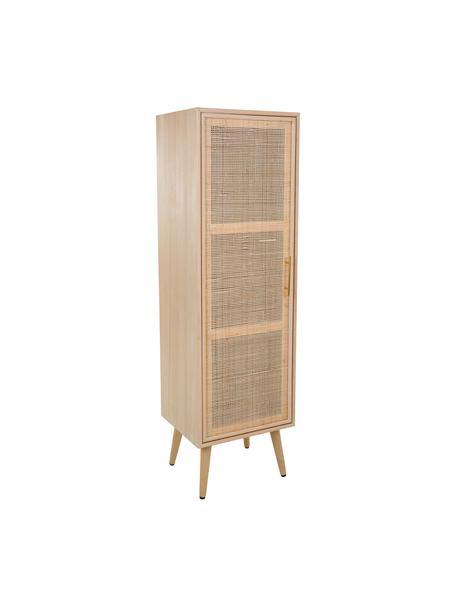 Smal dressoir Cayetana van hout, Frame: gefineerd MDF, Handvatten: metaal, Poten: gelakt bamboehout, Bruin, 37 x 140 cm