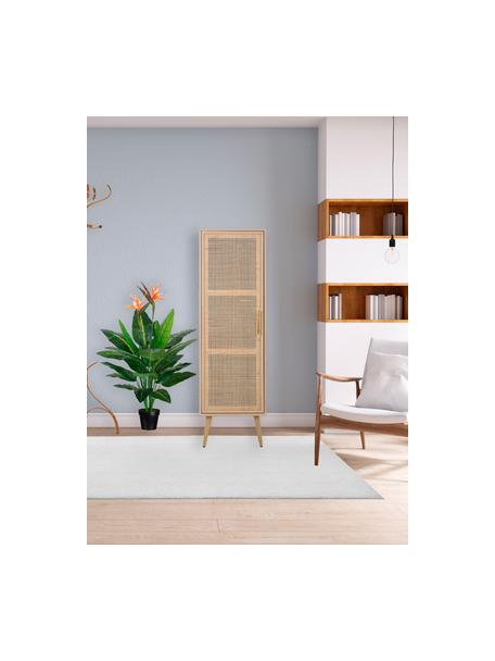 Credenza alta in legno Cayetana, Piedini: legno di bambù verniciato, Marrone, Larg. 37 x Alt. 140 cm