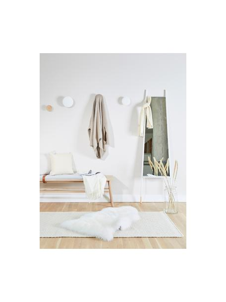 Rechthoekige leunende spiegel Dresser  met plank, Lijst: metaal, houten poten, Wit, spiegelglas, 48 x 171 cm