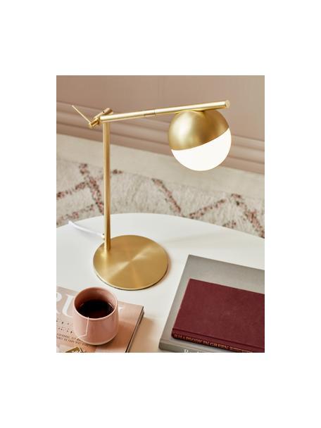 Lampada da scrivania dorata con vetro opale Contina, Paralume: vetro opale, Base della lampada: metallo rivestito, Bianco, oro, Larg. 15 x Alt. 49 cm