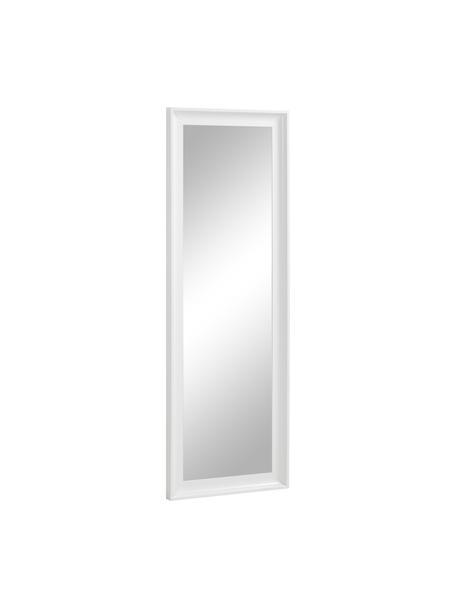 Specchio da parete con cornice in legno bianco Romila, Cornice: materiale sintetico, Retro: pannelli di fibra a media, Superficie dello specchio: lastra di vetro, Bianco, Larg. 52 x Alt. 153 cm