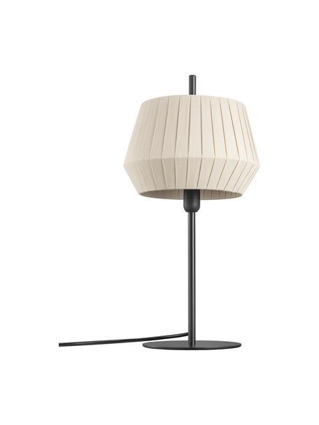 Klassieke tafellamp Dicte van geplooide stof, Lampenkap: stof, Lampvoet: gecoat metaal, Beige, zwart, Ø 21 x H 43 cm