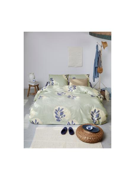 Baumwoll-Bettwäsche Romantic Leaves, Webart: Renforcé Fadendichte 144 , Graublau, Creme, Indigoblau, 135 x 200 cm + 1 Kissen 80 x 80 cm