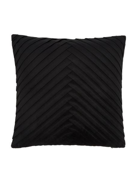 Fluwelen kussenhoes Lucie in zwart met structuur-oppervlak, 100% fluweel (polyester), Zwart, 45 x 45 cm
