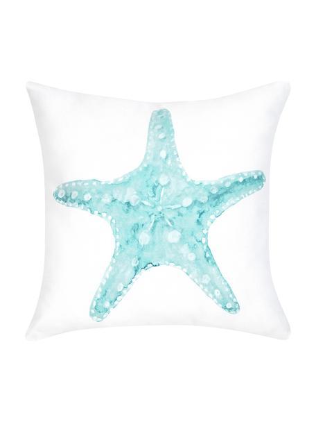 Federa arredo con stampa effetto acquerello Korallion, 100% cotone, Blu, bianco, Larg. 40 x Lung. 40 cm
