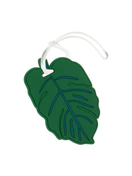 Etichetta per bagagli Leaf, Materiale sintetico, Verde, bianco, Larg. 10 x Alt. 6 cm