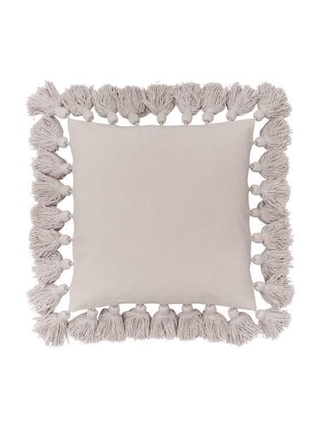 Funda de cojín con borlas Shylo, 100%algodón, Beige, An 40 x L 40 cm