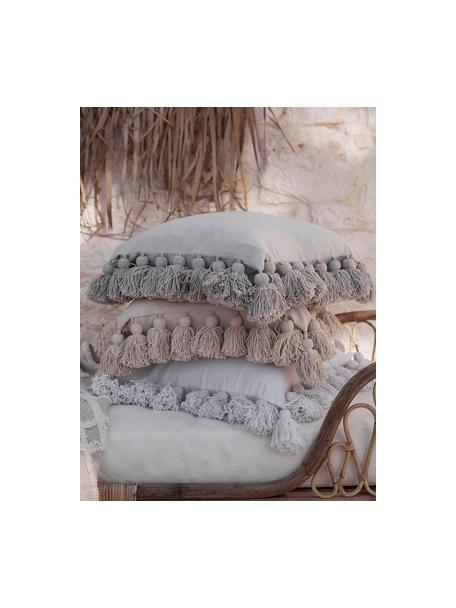 Kissenhülle Shylo in Beige mit Quasten, 100% Baumwolle, Beige, 40 x 40 cm