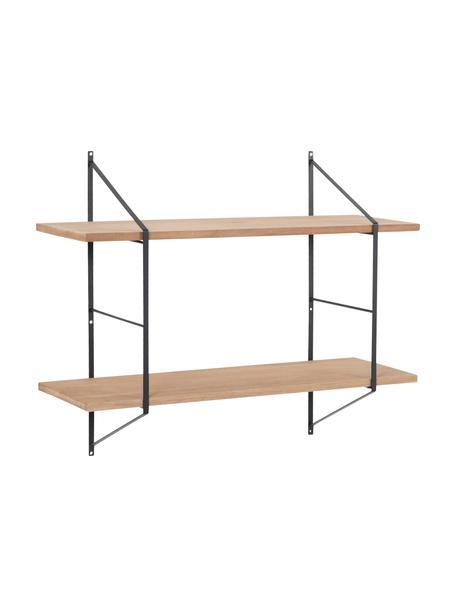 Klein wandrek Belfast met metalen frame, Plank: paulowniahout, gebeitst, , Frame: gepoedercoat metaal, Zwart, lichtbruin, 76 x 63 cm