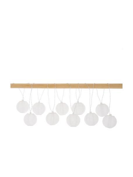 Guirnalda de luces solares LED Ball, 270cm, 10 luces, Linternas: poliéster, papel de arroz, Cable: plástico, Blanco, L 270 cm