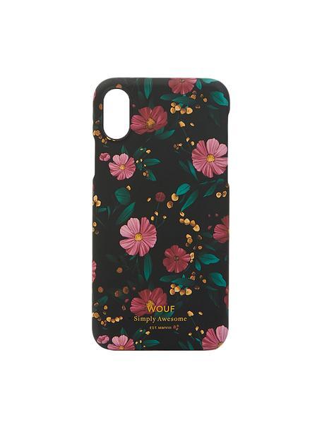 Etui na iPhone X Black Flowers, Silikon, Wielobarwny, S 7 x W 15 cm
