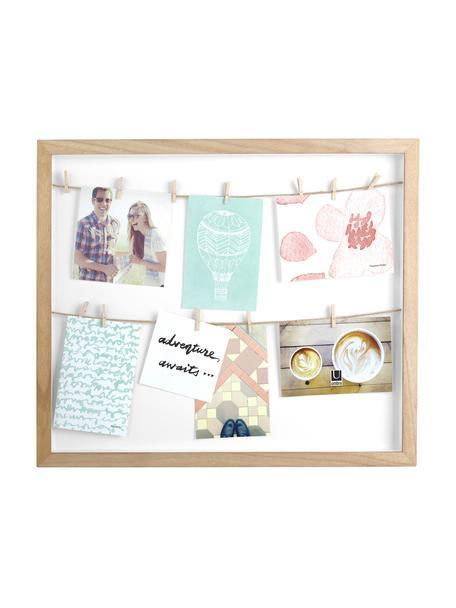 Fotolijstje Clothesline, Paulownia hout, wit, beige, 52 x 45 cm