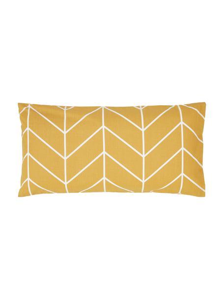 Baumwoll-Kissenbezüge Mirja mit grafischem Muster, 2 Stück, Webart: Renforcé Fadendichte 144 , Senfgelb, Cremeweiß, 40 x 80 cm