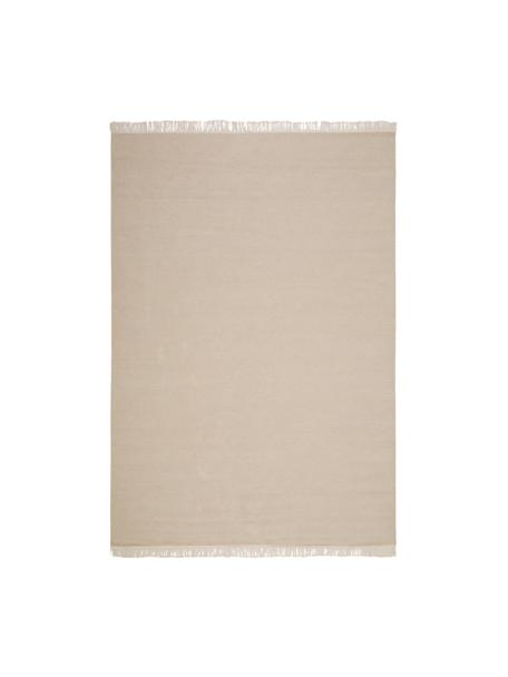 Alfombra artesanal de lana con flecos Rainbow, Flecos: 100%algodón, Arena, An 140 x L 200  cm(Tamaño S)