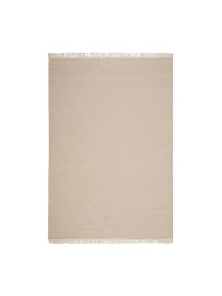 Handgeweven Kelim vloerkleed Rainbow van wol in beige met franjes, Franjes: 100% katoen Bij wollen vl, Zandkleurig, B 140 x L 200 cm (maat S)