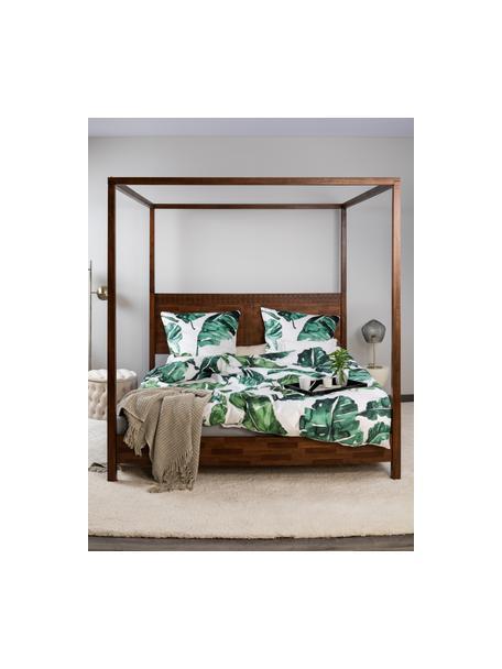 Łóżko  z drewna z baldachimem Retreat, Drewno mangowe z fornirowanymi kawałkami drewna tekowego, drewno mahoniowe, drewno mindi, Odcienie ciemnego brązowego, S 180 x D 200 cm