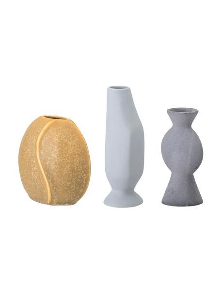 Kleine handgefertigtes Vasen-Set Lubava, 3-tlg., Steingut, Gelb, Hellgrau, Grau, Sondergrößen