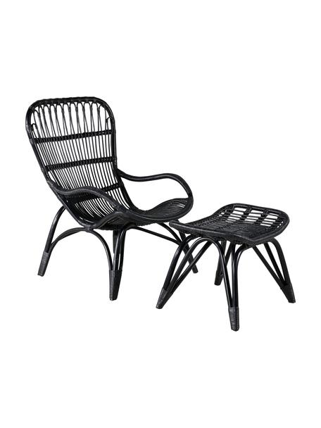 Fotel ogrodowy z rattanu z podnóżkiem Ella, Rattan, poliester, Czarny, S 66 x G 131 cm