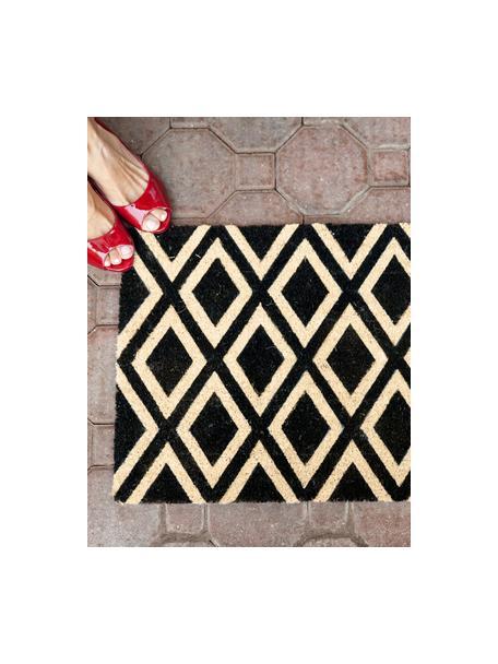 Fussmatte Rhombi, Oberseite: Kokosfaser, Unterseite: Kunststoff (PVC), schwarz, creme, 40 x 60 cm