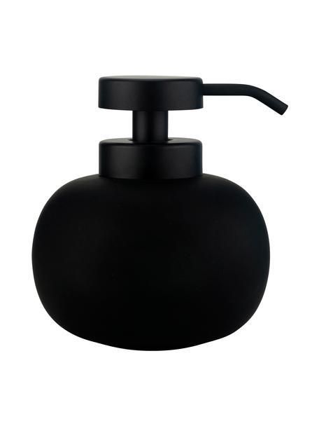 Keramik-Seifenspender Lotus, Behälter: Keramik, Pumpkopf: Metall, Schwarz, Ø 11 x H 13 cm