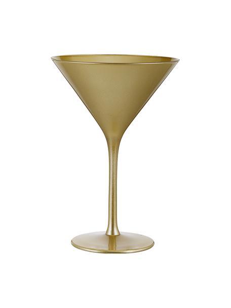 Copas martini de cristal Elements, 6uds., Cristal recubierto, Dorado, Ø 12 x Al 17 cm