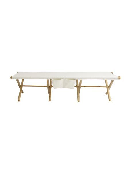 Leżak ogrodowy z drewna bambusowego Bambed, Stelaż: drewno bambusowe, Tapicerka: 100% bawełna, Biały, brązowy, S 180 x G 80 cm