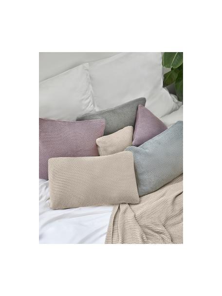 Federa arredo a maglia beige Adalyn, 100% cotone biologico, certificato GOTS, Beige, Larg. 30 x Lung. 50 cm