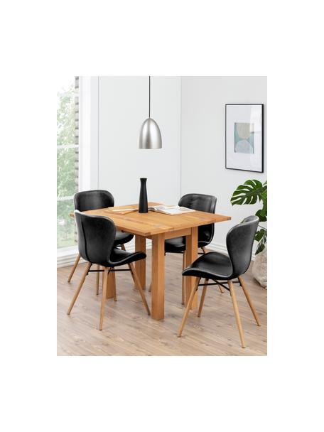 Kunstleren stoelen Batilda, 2 stuks, Bekleding: kunstleer (polyurethaan), Poten: eikenhout, geolied, Kunstleer zwart, B 56 x D 47 cm