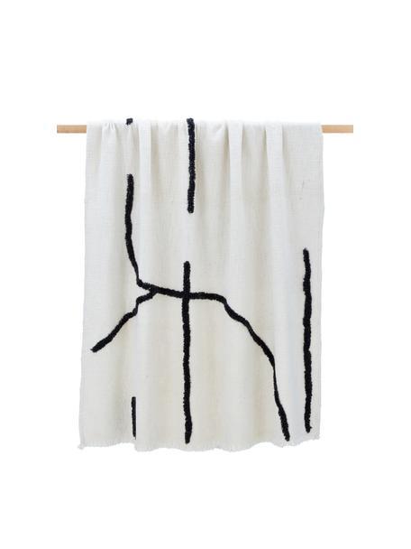 Plaid boho con frange e decoro in rilievo Lina, 70% cotone, 30% poliestere, Bianco latteo, nero, Larg. 130 x Lung. 170 cm