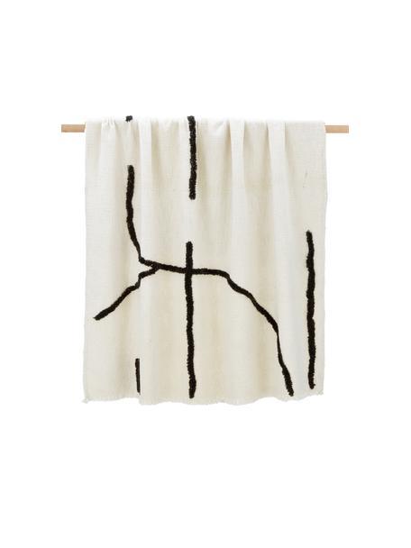 Boho plaid Lina met getufte decoratie, 70% katoen 30% polyester, Gebroken wit, zwart, 130 x 170 cm