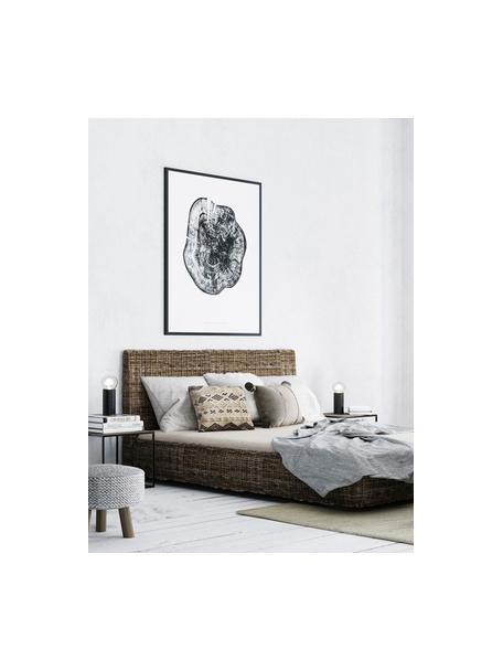 Rattanbett Kubu mit Kopfteil, Rahmen: Rattan, getönt, Rattan, 160 x 200 cm