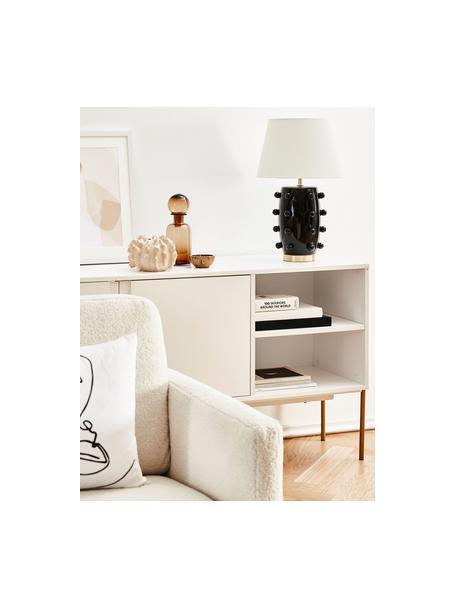 Lampada da tavolo in ceramica Leandra, Base della lampada: ceramica, Paralume: tessuto, Base della lampada: nero, ottone Paralume: bianco Cavo: trasparente, Ø 36 x Alt. 57 cm