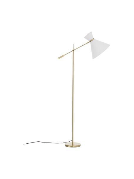 Retro leeslamp Audrey, Lampenkap: textiel, Lampvoet: gegalvaniseerd metaal, Wit,goudkleurig, 79 x 176 cm
