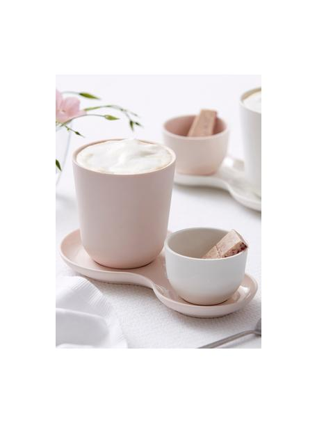Set da portata in rosa opaco / lucido Roseberry 3 pz, Porcellana, Bianco latteo, rosa, Set in varie misure