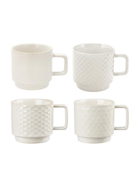 Gemusterte Espressotassen Lara, 4er-Set, Steingut, Gebrochenes Weiß, Ø 6 x H 6 cm
