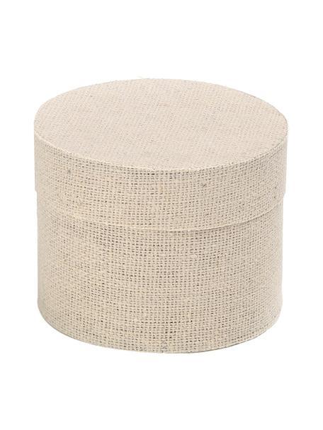 Geschenkbox Round , Baumwolle, Beige, Ø 10 x H 9 cm