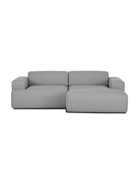 Hoekbank Melva (3-zits) in grijs, Bekleding: polyester, Frame: massief grenenhout, spaan, Poten: grenenhout De poten bevin, Grijs, B 240 x D 144 cm