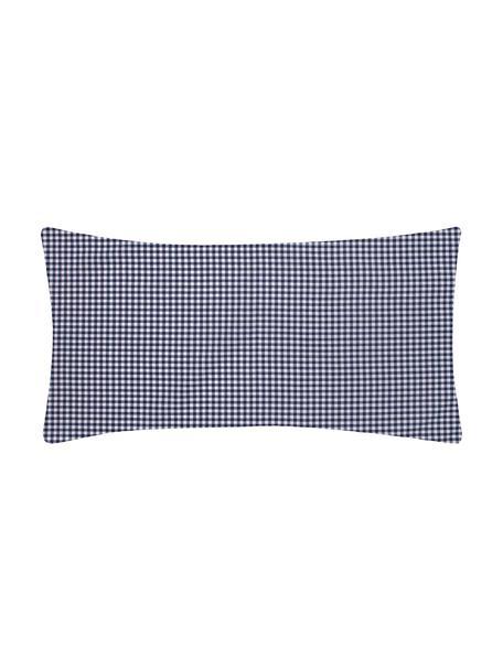 Karierte Baumwoll-Kissenbezüge Scotty in Blau/Weiß, 2 Stück, 100% Baumwolle  Fadendichte 118 TC, Standard Qualität  Bettwäsche aus Baumwolle fühlt sich auf der Haut angenehm weich an, nimmt Feuchtigkeit gut auf und eignet sich für Allergiker, Blau/Weiß, 40 x 80 cm