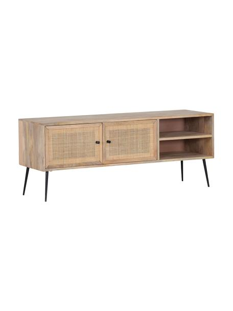 Mangohouten tv-meubel Larry met vlechtwerk, Frame: mangohout, Poten: gelakt metaal, Bruin, 140 x 55 cm