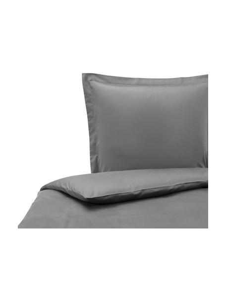 Pościel z satyny bawełnianej z lamówką Premium, Ciemny szary, 135 x 200 cm + 1 poduszka 80 x 80